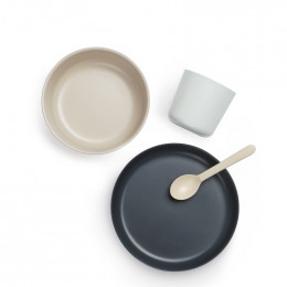 Set de vaisselle enfant en fibre de Bambou biodégradable - Gris / blanc / bleu / beige