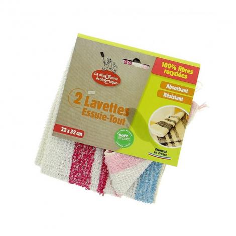 Lavettes essuie tout 100 % fibres recyclées Par 2