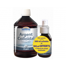 Argent colloïdal Pack promo 500 ml + 100 ml en spray gratuit