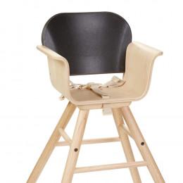 Chaise haute noire en bois - à partir de 6 mois