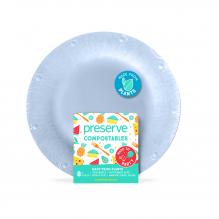 Assiette végétale compostable - 17,8 cm de diamètre - Lot de 8 - Bleu