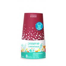 Gobelet en carton végétal compostable - 35 cl - Lot de 8 - Rouge