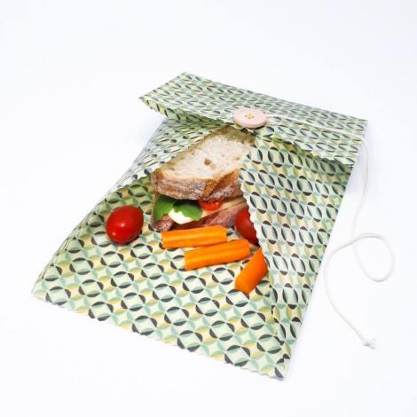 Pochette cirée pour tartines - moyenne - motifs aléatoires