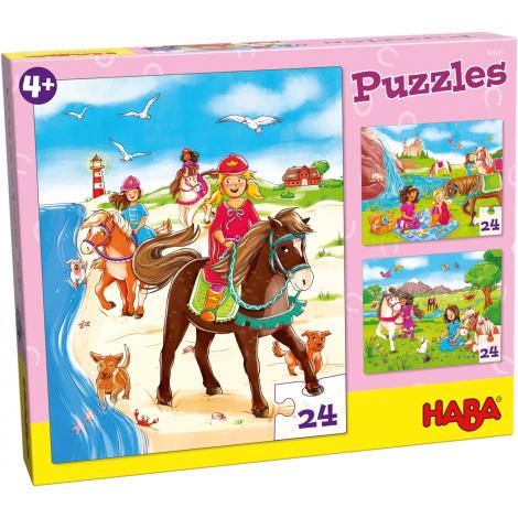 Puzzles Amies des cheveaux - lot de 3 puzzles - à partir de 4 ans