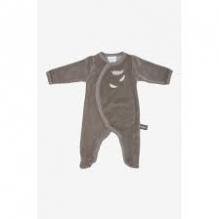 Pyjama velours en coton BIO - Beige taupe et plumes