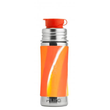Gourde bouteille en inox - 275 ml - Vagues oranges