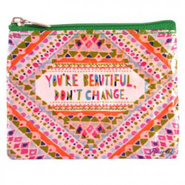 Mini trousse porte monnaie en matériaux recyclés - You'are beautiful