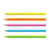 Crayon surligneur en bois grip neon Fluo - grosse mine