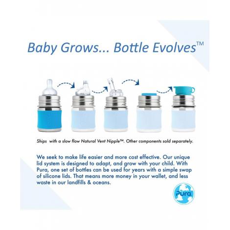 Biberon évolutif en inox - 150 ml - Tétine en silicone - Bleu