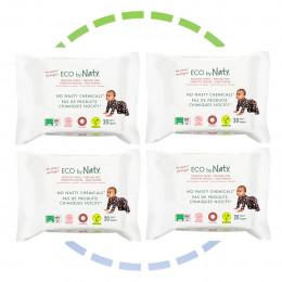 4 x Lingettes douces pour bébé - Sans parfum 100% ECO - 20pcs