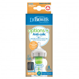 Biberon Options+ anti-coliques en verre - col large - 150 ml