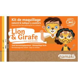 Kit de maquillage Bio 3 couleurs - Lion et girafe - à partir de 3 ans
