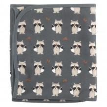 Couverture réversible en coton BIO - 72 x 72 cms -  Raton laveur Teal