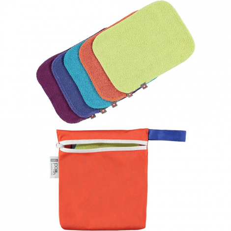 Lingettes lavables x 10 - couleurs vives - Pochette orange