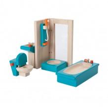 Salle de bain bois coloré maison de poupée - à partir de 3 ans