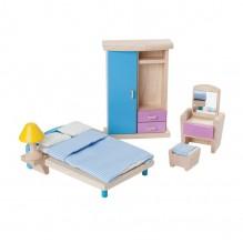 Chambre parentale colorée en bois pour maison de poupée - à partir de 3 ans
