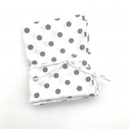 3 Mouchoirs lavables et réutilisables de 38 cm - Dots White Grey