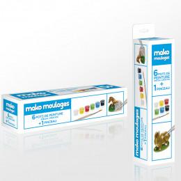 Recharge de 6 pots de peinture + pinceau pour moulages Mako - 800 g