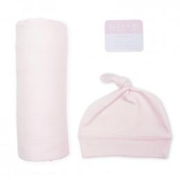 Swaddler et bonnet Hello World - Pink