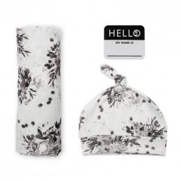 Swaddler et bonnet Hello World - Black Floral