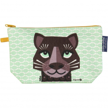 Trousse à soufflets en coton Bio - Love Cats - Jaguar