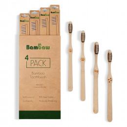 Lot de 4 brosses à dents en Bambou - moyen