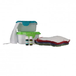 Kit d'alternative au papier de toilette - Flanelle + 1 HE mandarine et 1 HE teatree