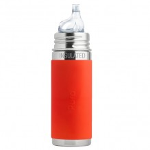 Biberon isotherme évolutif inox 260 ml - Bec de transition - Rouge