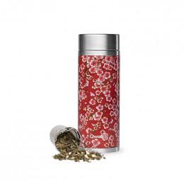 Théière nomade isotherme en inox - 400 ml - Flowers rouge