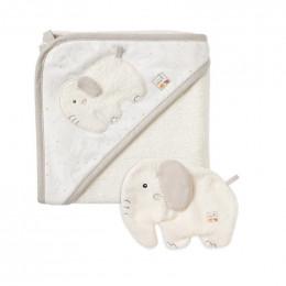 Cape de bain et gant de toilette en coton Bio - Eléphant