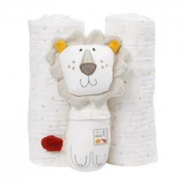 Set cadeau bébé - un hochet et 2 langes en coton bio - Lion