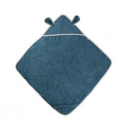 Cape de bain avec capuchon à oreilles - Coton Bio - Bleu moyen