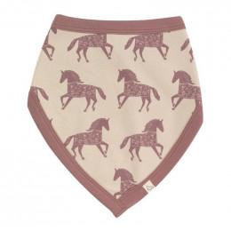 Bavoir bandana en coton Bio  - Cheval rose
