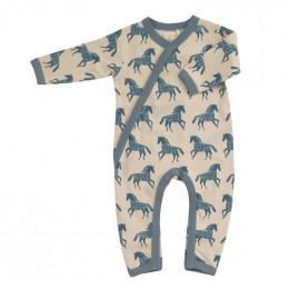 Pyjama kimono en coton BIO - Chevaux bleu