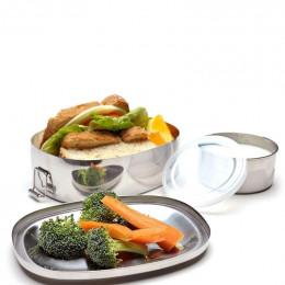 Eco lunch box ovale + récipient avec couvercle - Inox