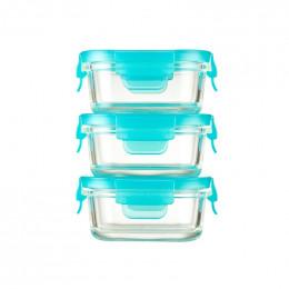 3 petits plats rectangulaires avec couvercles - 150 ml
