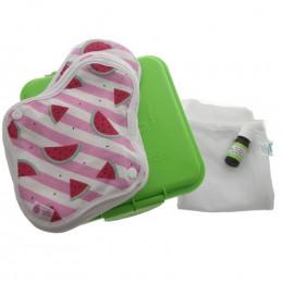 Kit complet - serviettes hygiéniques lavables ultra - Pastèques