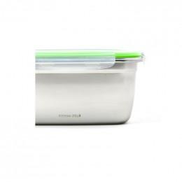 Boîte de conservation en inox avec couvercle étanche à clips - 2200 ml
