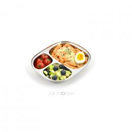 Assiette repas en inox pour enfant - 3 compartiments