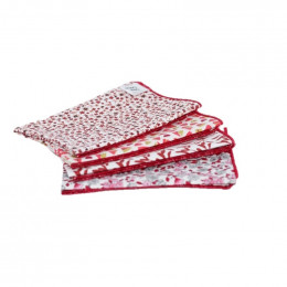 4 mouchoirs en coton Pio rouge - M - 25 x 25 cm