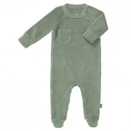 Pyjama bébé à pieds en velours Forest green