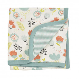 Couverture réversible coton BIO - Flowers Turquoise