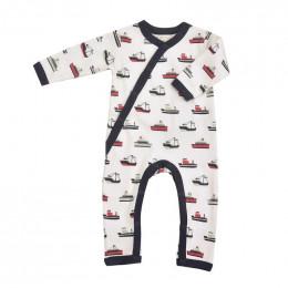 Pyjama kimono en coton BIO - Bateaux Navy
