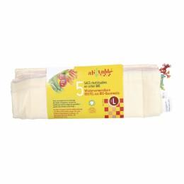 5 sacs à fruits et légumes en coton BIO Taille L