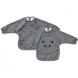 Set de 2 bavoirs à manches Merle - Panda stone grey