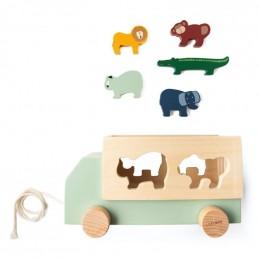 Camion en bois animaux