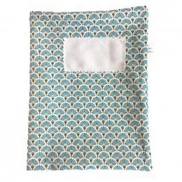 Protège cahier en tissu lavable - A4 - Eventail bleu