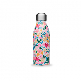 Bouteille simple paroi en inox - 500 ml - Flora rose