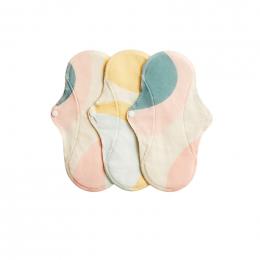 3 serviettes hygiéniques lavables - coton BIO - REGULAR - Pastel Hoop
