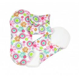 Serviettes hygiéniques lavables en coton BIO Fleurs - MINI - pack de 3